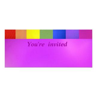 """Colores del arco iris en rosa invitación 4"""" x 9.25"""""""