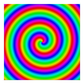 Colores del arco iris. Espiral brillante y colorid Poster