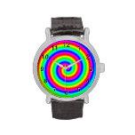 Colores del arco iris. Espiral brillante y colorid Reloj De Mano