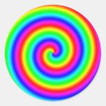 Colores del arco iris. Espiral brillante y Etiqueta Redonda