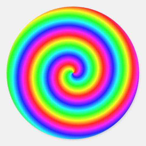 Colores del arco iris. Espiral brillante y Pegatina Redonda