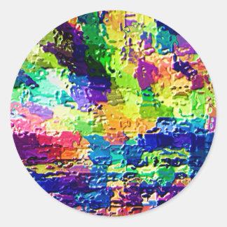 Colores del arco iris - terapia V21 de la alta ene Pegatina Redonda