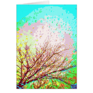 Colores del arte expresivo de las ramas de árbol tarjeta de felicitación