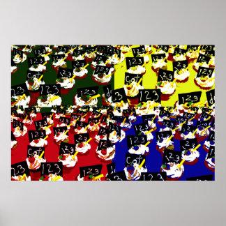 Colores del arte pop de la repetición de la magdal posters
