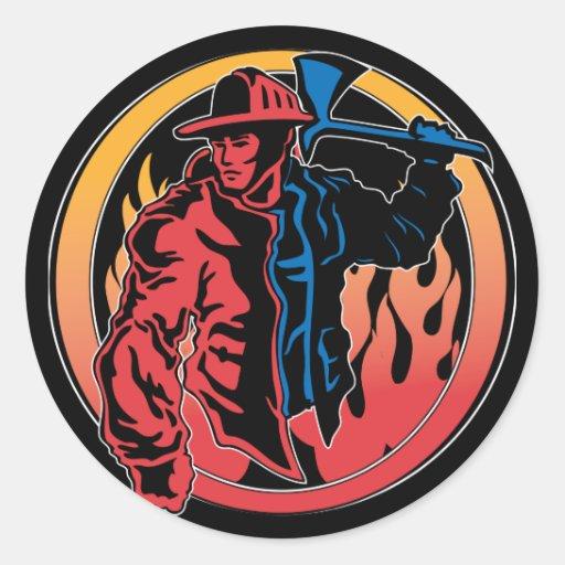 Colores del bombero pegatinas redondas