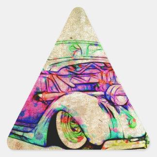 Colores del coche de carreras pegatina triangular