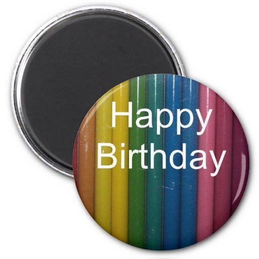 colores del feliz cumpleaños imán redondo 5 cm