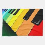 Colores del fiesta de la música del teclado toallas de mano