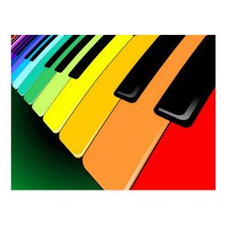 Colores del fiesta de la música del teclado tarjeta postal