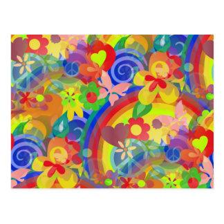 Colores del flower power tarjetas postales