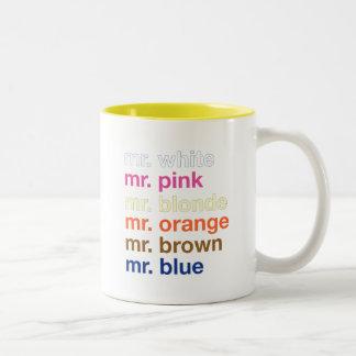 Colores del gángster taza de dos tonos