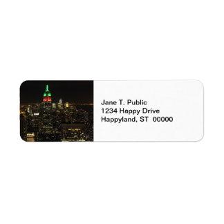 Colores del navidad del Empire State Building en Etiqueta De Remite