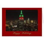 Colores del navidad del Empire State Building en l Tarjetas