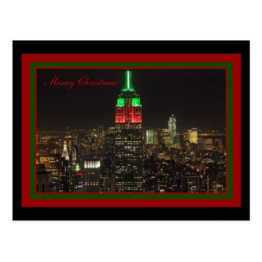 Colores del navidad del Empire State Building en l Tarjetas Postales