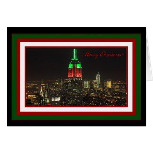 Colores del navidad del Empire State Building en Tarjeta De Felicitación