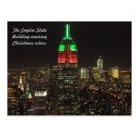 Colores del navidad del Empire State Building en Tarjeta Postal