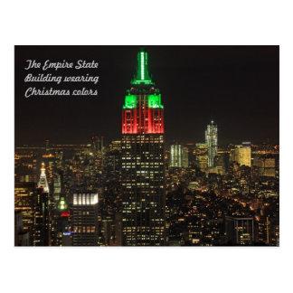 Colores del navidad del Empire State Building en Postal