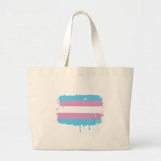 Colores del orgullo del Transexual Bolsa Tela Grande