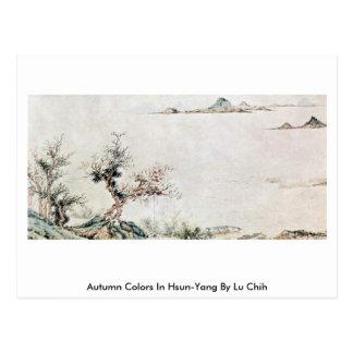 Colores del otoño en Hsun-Yang por Lu Chih Tarjetas Postales