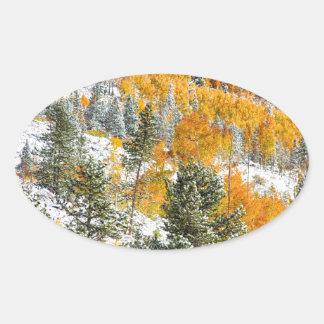 Colores del otoño Nevado de la montaña rocosa de Pegatina Óval Personalizadas