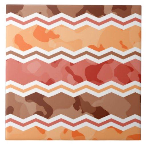 Colores del otoño; Rojo, naranja, Brown Camo Tejas Cerámicas