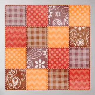 Colores del otoño; Rojo, naranja, remiendo de Brow Póster