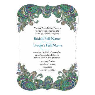 """Colores del pavo real de Paisley cortados con Invitación 5"""" X 7"""""""