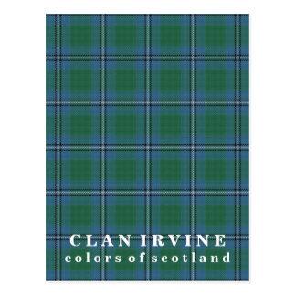 Colores del tartán de Irvine del clan de Escocia Tarjetas Postales