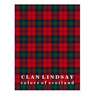 Colores del tartán de Lindsay del clan de Escocia Tarjetas Postales