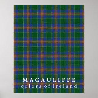 Colores del tartán de MacAuliffe de Irlanda Póster