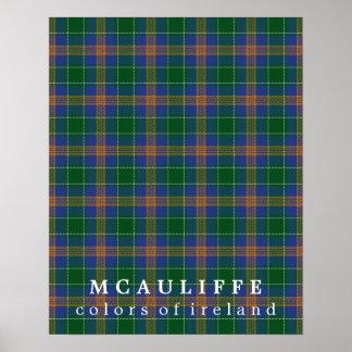 Colores del tartán de McAuliffe de Irlanda Póster
