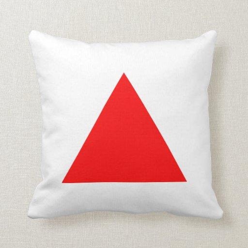Colores del triángulo - rojo y blanco cojines