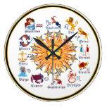 Colores del zodiaco 6 reloj redondo grande