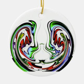 Colores divertidos del regalo de los pescados de adorno navideño redondo de cerámica