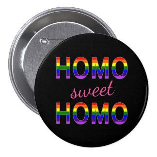 Colores dulces del arco iris del homo del homo gay pin redondo de 3 pulgadas
