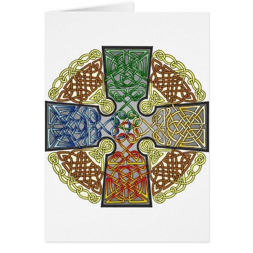 Colores elementales de la cruz céltica tarjeta de felicitación