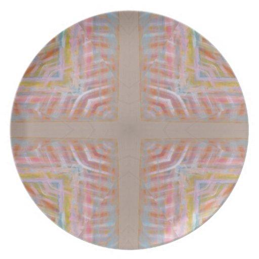 Colores en colores pastel cruzados cristianos platos de comidas