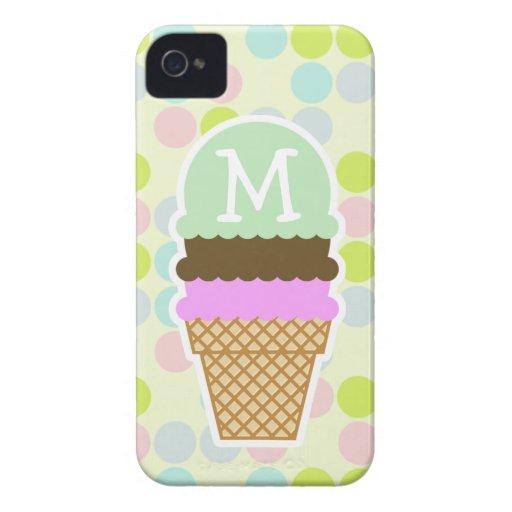 Colores en colores pastel, lunar; Cono de helado iPhone 4 Case-Mate Protector