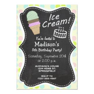 """Colores en colores pastel, lunar; Cono de helado Invitación 5"""" X 7"""""""