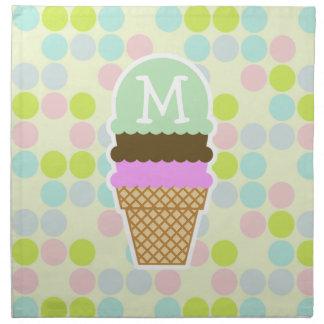 Colores en colores pastel, lunar; Cono de helado Servilletas De Papel