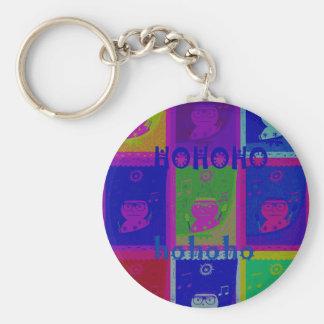 Colores especiales del arte pop de Santa HoHoho Llavero Redondo Tipo Pin