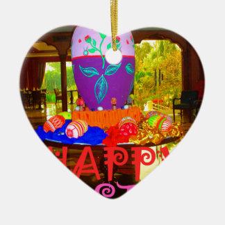 Colores felices de Pascua Adorno Navideño De Cerámica En Forma De Corazón