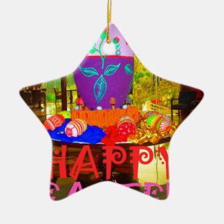 Colores felices de Pascua Adorno Navideño De Cerámica En Forma De Estrella