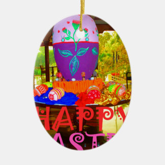 Colores felices de Pascua Adorno Navideño Ovalado De Cerámica