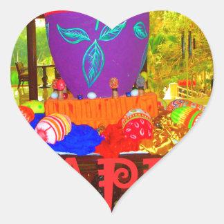 Colores felices de Pascua Pegatina En Forma De Corazón