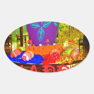 Colores felices de Pascua Pegatina Ovalada