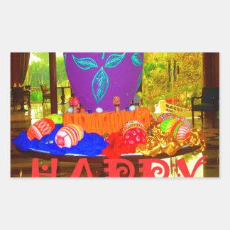 Colores felices de Pascua Pegatina Rectangular