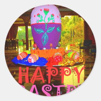 Colores felices de Pascua Pegatina Redonda