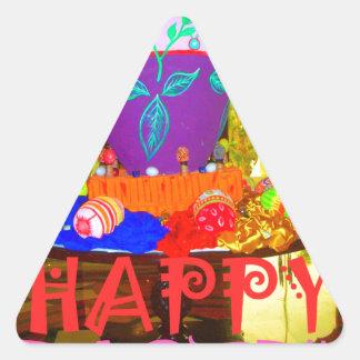 Colores felices de Pascua Pegatina Triangular