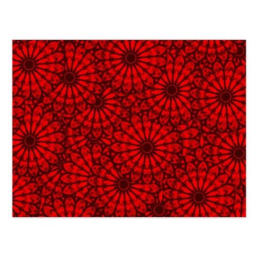 Colores florales rojos de Digitaces del arte abstr Postales